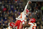 Kansas City Chiefs wide receiver Demarcus Robinson (11) celebrates after scoring a touchdown in the first half of an NFL football game against the Baltimore Ravens, Sunday, Sept. 19, 2021, in Baltimore. (AP Photo/Julio Cortez)