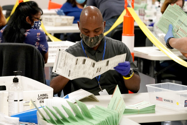 FILE - This Oct. 21, 2020, file photo shows election workers sorting ballots at the Maricopa County Recorder's Office in Phoenix. Despite massive turnout for early voting, elections are going pretty smoothly in the battleground state of Arizona. (AP Photo/Matt York, File)