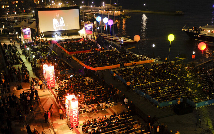 FILE - This April 20, 2011 file photo shows a view of the outdoor screening area for the world premiere of