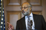 Harry Alford, president and CEO, National Black Chamber of Commerce, speaks after acting EPA Administrator Andrew Wheeler annouced that new coal plants no longer have to meet planned, tougher, Obama era emissions standards, at a news conference at the EPA Headquarters in Washington, Thursday, Dec. 6, 2018. (AP Photo/Cliff Owen)