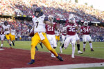 California quarterback Chase Garbers (7) scores the winning touchdown against Stanford during the second half of an NCAA college football game Saturday, Nov. 23, 2019 in Stanford, Calif. California won 24-20. (AP Photo/Tony Avelar)