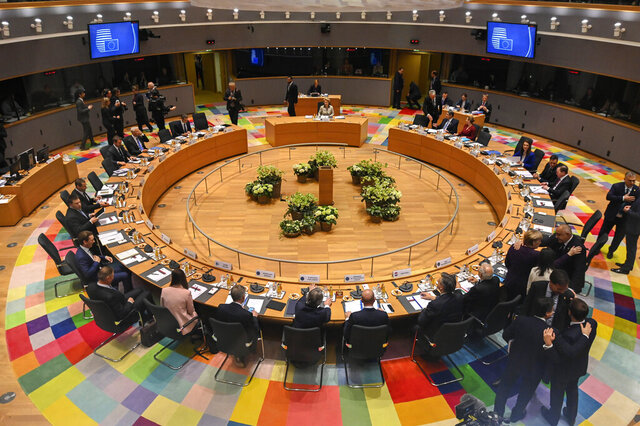European Union leaders meet during a round table at an EU summit in Brussels, Thursday, Feb. 20, 2020. After almost two years of sparring, the EU will be discussing the bloc's budget to work out Europe's spending plans for the next seven years. (AP Photo/Riccardo Pareggiani, Pool)