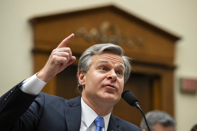 FILE - In this Feb. 5, 2020 file photo, FBI Director Christopher Wray testifies during an oversight hearing of the House Judiciary Committee, on Capitol Hill in Washington. Wray has ordered an internal review into possible misconduct in the investigation of former Trump administration national security adviser Michael Flynn. That's according to an FBI statement issued Friday. (AP Photo/Alex Brandon)