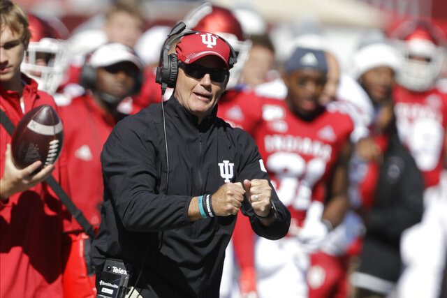 In this photo taken on Saturday, Oct. 12, 2019, Indiana head coach Tom Allen yells during the first half of an NCAA college football game against Rutgers, in Bloomington, Ind. The Hoosiers could be headed to a second straight bowl game despite a brutal schedule that begins with Penn State visiting Bloomington, Indiana, on Oct. 24.(AP Photo/Darron Cummings)