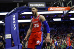 Philadelphia 76ers' Ben Simmons reacts after being fouled during the second half of the team's NBA basketball game against the Denver Nuggets, Friday, Feb. 8, 2019, in Philadelphia. Philadelphia won 117-110. (AP Photo/Matt Slocum)
