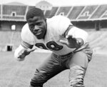 FILE - In this Sept. 11, 1944, file photo, Ohio State's Bill Willis poses in Columbus, Ohio. Willis went on to a stellar pro career with the Cleveland Browns and was inducted into the Pro Football Hall of Fame in 1977. (AP Photo/File)