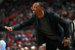 Tennessee State coach Brian Collins yells out to his players during the first half of an NCAA college basketball game against Texas Tech, Thursday, Nov. 21, 2019, in Lubbock, Texas. (AP Photo/Brad Tollefson)