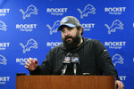 FILE - In this Dec. 29, 2019, file photo, Detroit Lions head coach Matt Patricia addresses the media after an NFL football game against the Green Bay Packers in Detroit. The 2020 NFL Draft is April 23-25. (AP Photo/Duane Burleson, File)