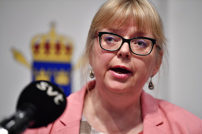 Vice chief prosecutor Eva-Britt speaks at a press conference in Stockholm, Sweden, Monday May 13, 2019. Swedish prosecutors plan to say Monday whether they will reopen a rape case against WikiLeaks founder Julian Assange, a month after he was removed from the Ecuadorian Embassy in London. (Anders Wiklund/TT News Agency via AP)