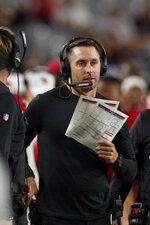 Arizona Cardinals head coach Kliff Kingsbury watches from the sidelines during an NFL preseason game against the Oakland Raiders, Thursday, Aug. 15, 2019, in Glendale, Ariz. (Margaret Bowles via AP)