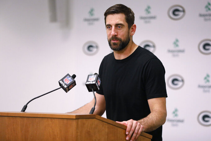 Green Bay Packers quarterback Aaron Rodgers speaks during a news conference following the team's NFL football game against the Philadelphia Eagles on Thursday, Sept. 26, 2019, in Green Bay, Wis. Philadelphia won 34-27. (AP Photo/Mike Roemer)