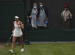 Britain's Emma Raducanu during the women's singles fourth round match against Australia's Ajla Tomljanovic on day seven of the Wimbledon Tennis Championships in London, Monday, July 5, 2021. (AP Photo/Alberto Pezzali)