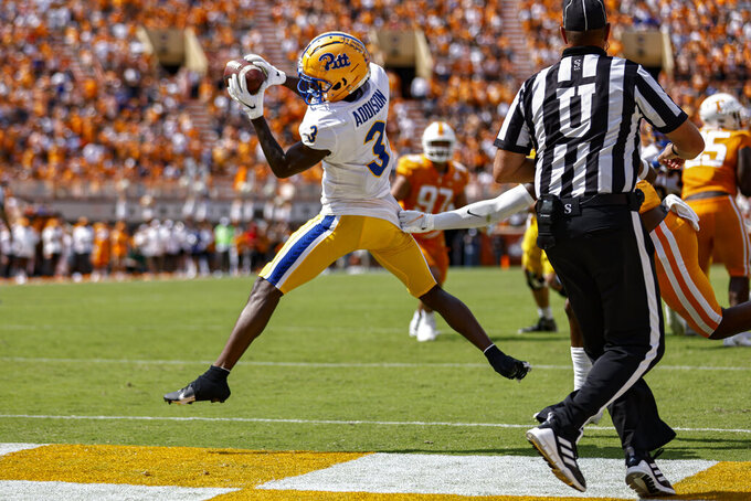 Pittsburgh wide receiver Jordan Addison (3) catches a touchdown pass during the second half of an NCAA college football game against Tennessee, Saturday, Sept. 11, 2021, in Knoxville, Tenn. (AP Photo/Wade Payne)