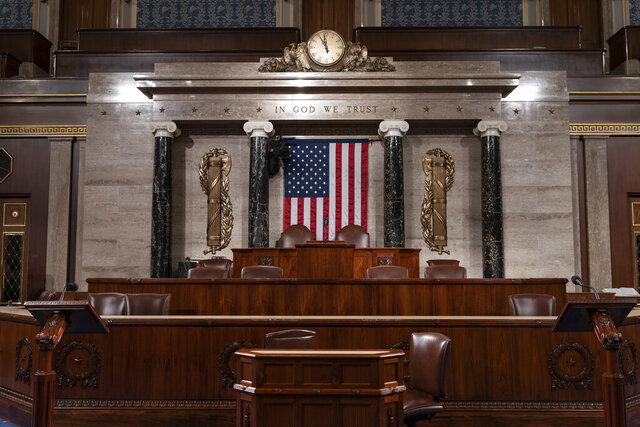The chamber of the House of Representatives is seen at the Capitol in Washington, Monday, Feb. 3, 2020, as it is prepared for President Donald Trump to give his State of the Union address Tuesday night.  (AP Photo/J. Scott Applewhite)