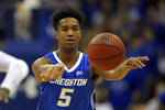 Creighton guard Ty-Shon Alexander (5) passes against Seton Hall Pirates during the first half of an NCAA college basketball game Wednesday, Feb. 12, 2020, in Newark, N.J.. (AP Photo/Adam Hunger)