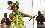 Ruling African National Congress (ANC) party attend the party's 106th birthday celebrations in East London, South Africa, Saturday, Jan. 13, 2018. Newly elected ANC President Cyril Ramaphosa is to address supporters for the first time since being elected last month. (AP Photo)