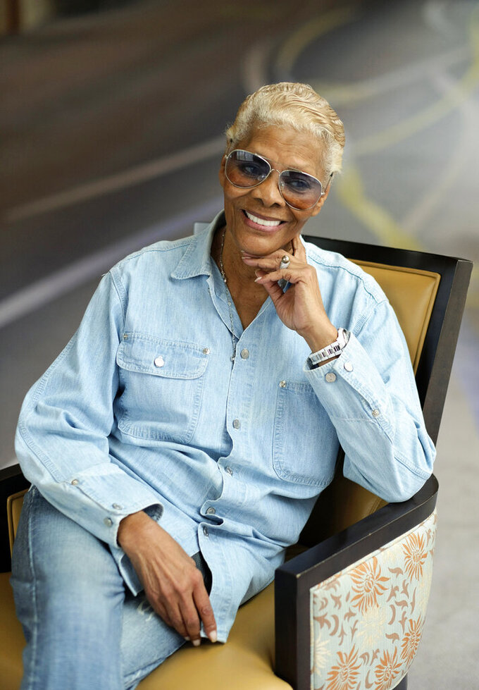 """Singer Dionne Warwick, the subject of the documentary film """"Dionne Warwick: Don't Make Me Over,"""" poses for a portrait during the 2021 Toronto International Film Festival, Sunday, Sept. 12, 2012, at The Ritz-Carlton in Toronto. (AP Photo/Chris Pizzello)"""