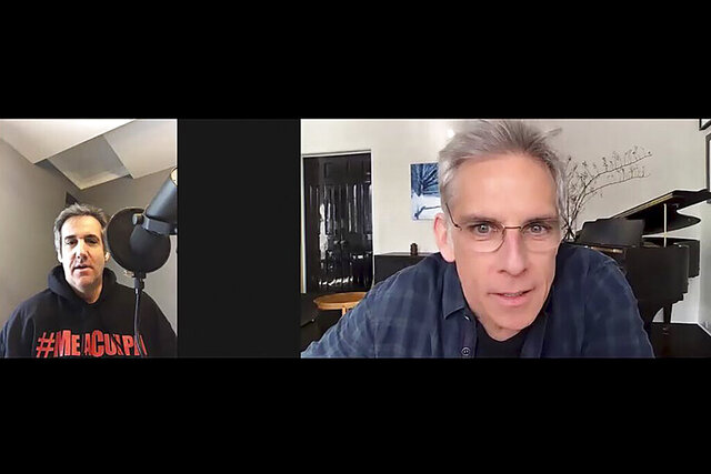 In this video frame grab provided by Michael Cohen, Cohen, left, interviews actor Ben Stiller for his podcast
