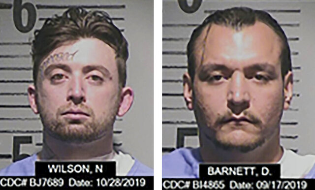 These Oct. 28, 2019 photos released by California Department of Corrections and Rehabilitation, CDCR, show Noah Wilson, 28, left, and Derek Barnett, 29. Authorities are searching for the two minimum-security inmates who walked away from a prison camp in Northern California on Friday, March 28, 2020. The CDCR had not reported finding them by Sunday morning. The two were discovered missing Friday at 9:45 p.m. during an inmate count at the Eel River Conservation Camp in Humboldt County, the corrections department said in a news release. (California Department of Corrections and Rehabilitation via AP)