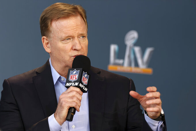 NFL commissioner Roger Goodell speaks at a press conference ahead of Super Bowl LV, Thursday, Feb. 4, 2021 in Tampa, Fla. (Perry Knotts via AP)