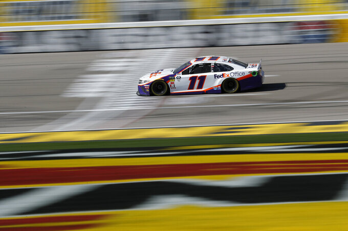 Denny Hamlin drives during a NASCAR Cup Series auto race at the Las Vegas Motor Speedway, Sunday, March 3, 2019, in Las Vegas. (AP Photo/John Locher)