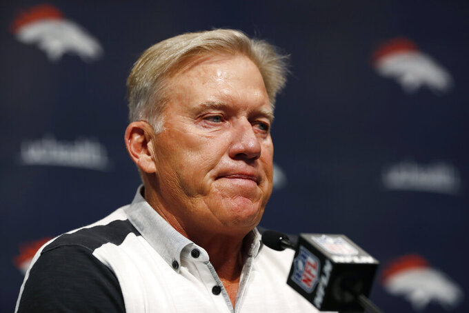 John Elway, general manager of the Denver Broncos, talks about the death of team owner Pat Bowlen during a news conference Monday, June 17, 2019, at the NFL football team's headquarters in Englewood, Colo. (AP Photo/David Zalubowski)