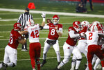Rutgers quarterback Artur Sitkowski (8) throws a pass against Nebraska during the first quarter of an NCAA college football game Friday, Dec. 18, 2020, in Piscataway, N.J. (Andrew Mills/NJ Advance Media via AP)