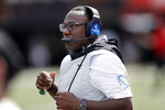 Vanderbilt head coach Derek Mason watches from the sideline in the second half of an NCAA college football game against Northern Illinois Saturday, Sept. 28, 2019, in Nashville, Tenn. Vanderbilt won 24-18. (AP Photo/Mark Humphrey)