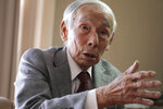 In this Feb. 3, 2019, photo, Kazuo Oda, a retired trading house executive and longtime tennis friend of Emperor Akihito, speaks during an exclusive interview with the Associated Press in Tokyo. Akihito's Heisei era will end when he abdicates on April 30 in favor of his elder son, 58-year-old Crown Prince Naruhito, beginning a new, as yet unnamed era. (AP Photo/Eugene Hoshiko)