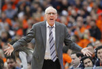 Syracuse head coach Jim Boeheim yells at an official during the second half of an NCAA college basketball game against Boston College in Syracuse, N.Y., Saturday, Feb. 9, 2019. Syracuse won 67-56. (AP Photo/Nick Lisi)