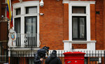 A cat, believed to be owned by WikiLeaks founder Julian Assange, wears a tie as it looks out of a window at the Ecuadorian embassy as journalists film it in London, Tuesday, Feb. 13, 2018. A British judge is set to decide Tuesday whether to quash or uphold an arrest warrant for WikiLeaks founder Julian Assange, who has spent more than five years evading the law inside Ecuador's London embassy. Assange's lawyers argue that it's no longer in the public interest to arrest him for jumping bail in 2012 and seeking shelter in the embassy to avoid extradition to Sweden, where prosecutors were investigating allegations of sexual assault and rape made by two women. He denied the allegations.(AP Photo/Alastair Grant)