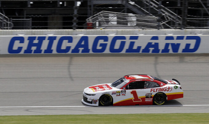 Michael Annett drives on the track during a NASCAR Xfinity Series auto race practice at Chicagoland Speedway in Joliet, Ill., Friday, June 28, 2019. (AP Photo/Nam Y. Huh)