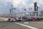 An IndyCar auto race starts Sunday, Oct. 25, 2020, in St. Petersburg, Fla. (AP Photo/Mike Carlson)