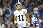 Oakland Raiders wide receiver Trevor Davis (11) celebrates a touchdown against the Indianapolis Colts during the first half of an NFL football game in Indianapolis, Sunday, Sept. 29, 2019. (AP Photo/AJ Mast)