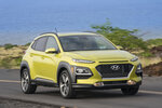This undated photo provided by Hyundai shows the 2019 Hyundai Kona. The Kona is one of the best subcompact crossover SUVs on the market. When equipped with its optional 175-horsepower turbocharged engine, it gets up to speed quicker than just about everything else in the class (David Dewhurst Photography/Hyundai via AP)