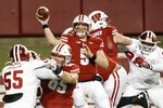 Wisconsin's Graham Mertz throws a pass during the second half of an NCAA college football game against Indiana Saturday, Dec. 5, 2020, in Madison, Wis.Indiana won 14-6. (AP Photo/Morry Gash)