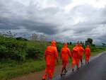 This Photograph provided by India's National Disaster Response Force (NDRF) shows NDRF personnel arriving in preparation for Cyclone Gulab, that likely to make landfall on Sunday evening at Ganjam, eastern Odisha state, India, Sunday, Sept.26, 2021. (National Disaster Response Force via AP)