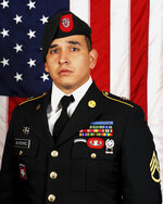 This image provided by the U.S. Army Special Operations Command shows Sgt. 1st Class Javier J. Gutierrez, 28, of San Antonio, Texas, who died Feb. 8, 2020, from wounds sustained during combat operations in Nangarhar Province, Afghanistan. (U.S. Army Special Operations Command via AP)