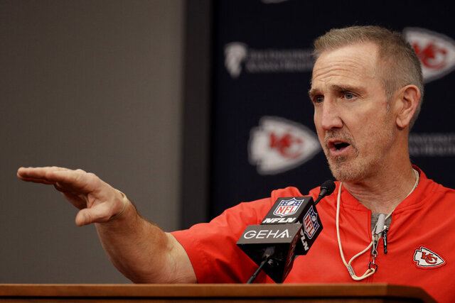 Kansas City Chiefs defensive coordinator Steve Spagnuolo addresses the media during an NFL football news conference Thursday, Jan. 23, 2020 at Arrowhead Stadium in Kansas City, Mo. The Chiefs will face the San Francisco 49ers in Super Bowl 54. (AP Photo/Charlie Riedel)