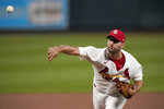 St. Louis Cardinals starting pitcher Adam Wainwright throws during the first inning of a baseball game against the Cincinnati Reds Friday, Sept. 11, 2020, in St. Louis. (AP Photo/Jeff Roberson)