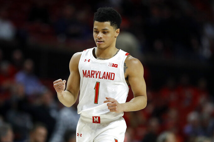 Maryland guard Anthony Cowan Jr. reacts during the second half of an NCAA college basketball game against Northwestern, Tuesday, Feb. 18, 2020, in College Park, Md. Maryland won 76-67. (AP Photo/Julio Cortez)