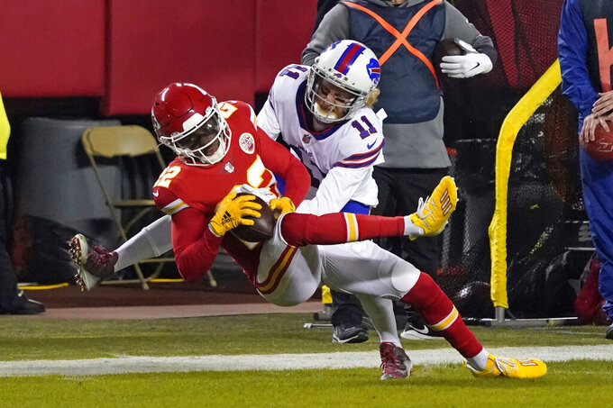 Kansas City Chiefs safety Juan Thornhill (22) breaks up a pass intended for Buffalo Bills wide receiver Cole Beasley (11) during the first half of the AFC championship NFL football game, Sunday, Jan. 24, 2021, in Kansas City, Mo. (AP Photo/Jeff Roberson)