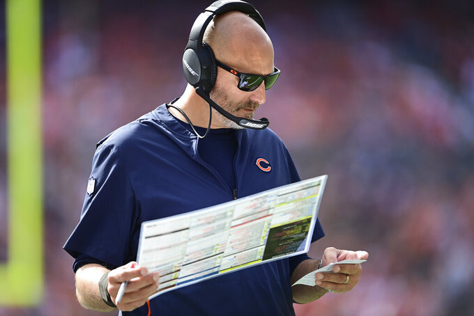 Chicago Bears head coach Matt Nagy looks on during the second half of an NFL football game against the Cleveland Browns, Sunday, Sept. 26, 2021, in Cleveland. (AP Photo/David Dermer)