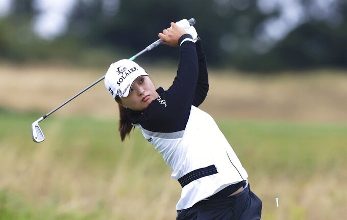 Jin Young Ko, of South Korea, watches her tee shot on the fourth hole during the final round of the LPGA Cambia Portland Classic golf tournament in West Linn, Ore., Sunday, Sept. 19, 2021. (AP Photo/Steve Dipaola)