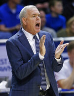 BYU coach Dave Rose shouts to his team during the first half of an NCAA college basketball game against Gonzaga on Thursday, Jan. 31, 2019, in Provo, Utah. (AP Photo/Rick Bowmer)