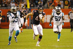 Chicago Bears tight end Ian Bunting runs after a pass reception during the first half of the team's NFL preseason football game against the Carolina Panthers on Thursday, Aug. 8, 2019, in Chicago. (AP Photo/Mark Black )
