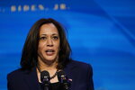 Vice President-elect Kamala Harris speaks during an event at The Queen theater in Wilmington, Del., Friday, Jan. 8, 2021, to announce key administration posts. (AP Photo/Susan Walsh)