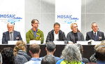 From left, Vladimir Sokolov, co-coordinator of Mosaic Matthew Shupe, expedition leader Markus Rex, scientist Pauline Snoeijs-Leijonmalm and captain Stefan Schwarze take part in a press conference in Tromso, Norway, Friday Sept. 20, 2019, as scientists are preparing to launch the biggest and most complex research expedition ever attempted in the central Arctic. The 140-million euro ($158 million) expedition will see scientists from 19 countries on a yearlong journey through the ice that they hope will improve the scientific models that underpin our understanding of climate change. (Rune Stoltz Bertinussen/NTB Scanpix)