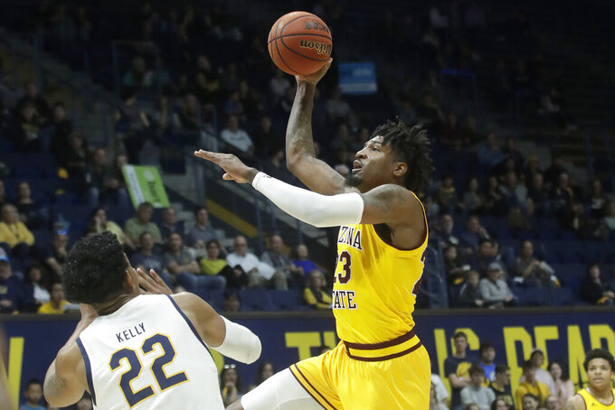 Arizona State forward Romello White, right, shoots next to California forward Andre Kelly (22) during the first half of an NCAA college basketball game in Berkeley, Calif., Sunday, Feb. 16, 2020. (AP Photo/Jeff Chiu)