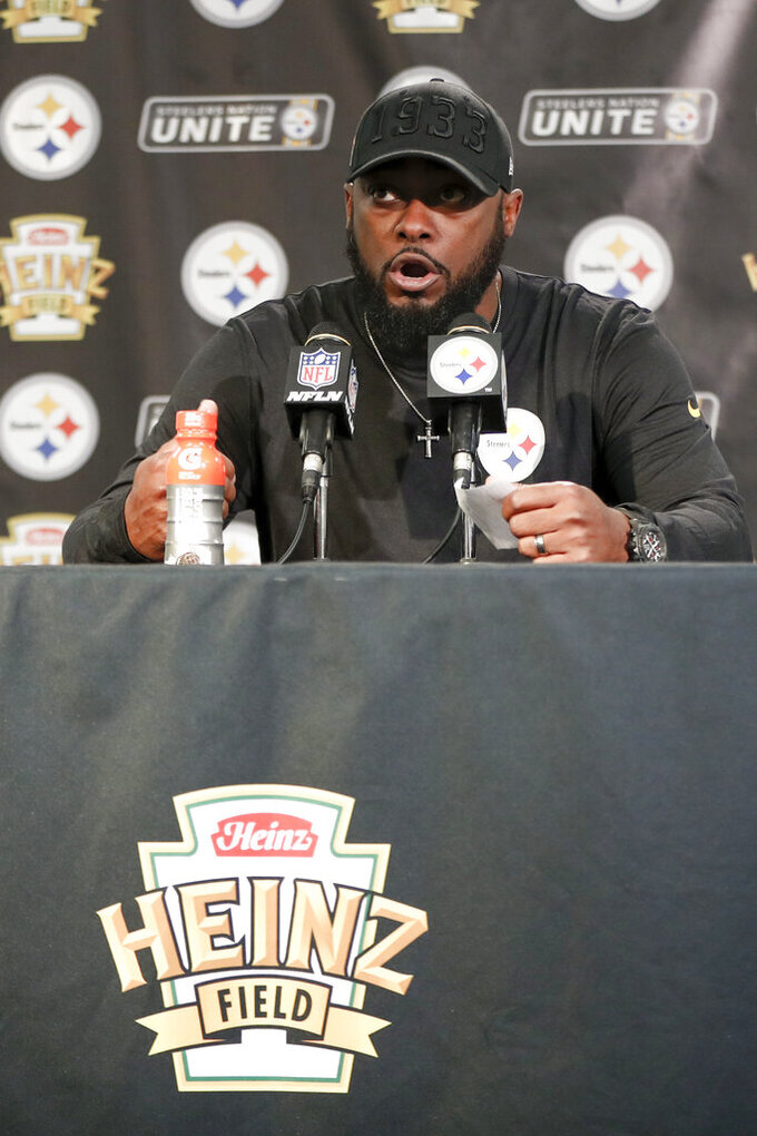 Pittsburgh Steelers head coach Mike Tomlin speaks during a news conference after an NFL football game against the Los Angeles Rams, Sunday, Nov. 10, 2019, in Pittsburgh. (AP Photo/Keith Srakocic)